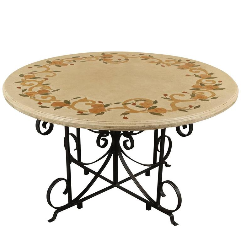 Dining Table With Marble Inlay Top And Wrought Iron Base For