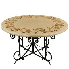 Dining Table with Marble Inlay Top and Wrought Iron Base