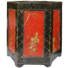 Chinese Lacquer and Gilt Brush Pot