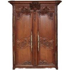 19th Century French Carved Oak Marriage Armoire