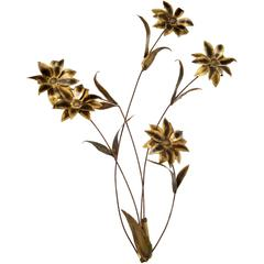 1972 Signed Curtis Jere Flower Brass and Metal Sculpture