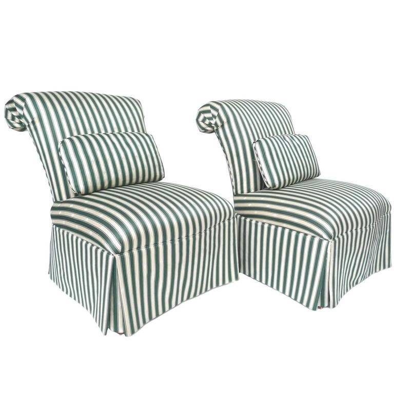Captivating Pair Of Henredon Striped Silk Slipper Chairs For Sale