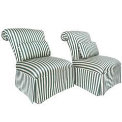 Pair of Henredon Striped Silk Slipper Chairs