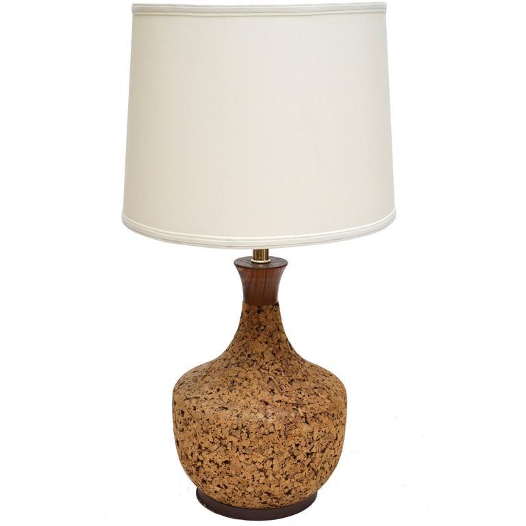 Danish Modern Cork And Teak Table Lamp 1960s For Sale At 1stdibs
