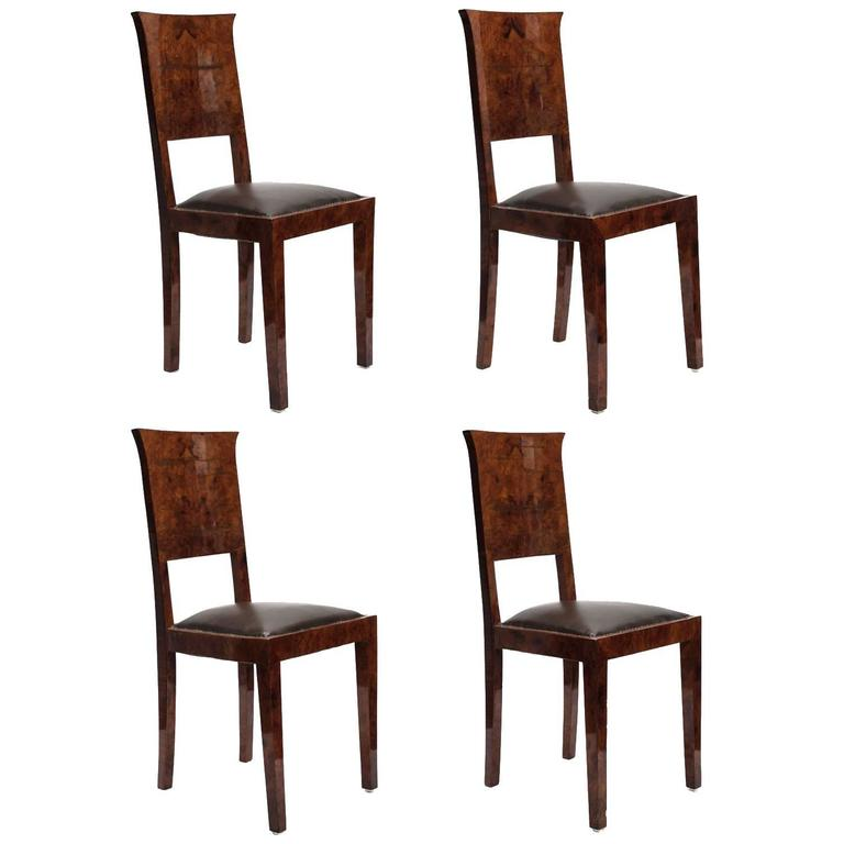 Set of Four Burl and Leather Dining Chairs