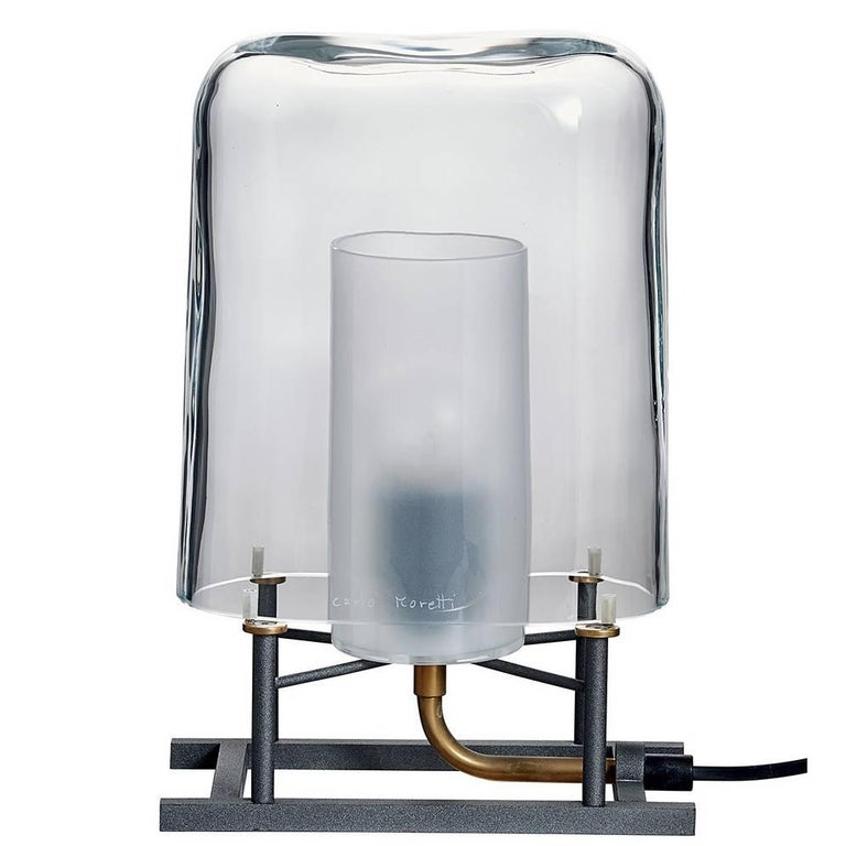 Efra Carlo Moretti Contemporary Mouth Blown Clear Murano Glass Table Lamp For Sale