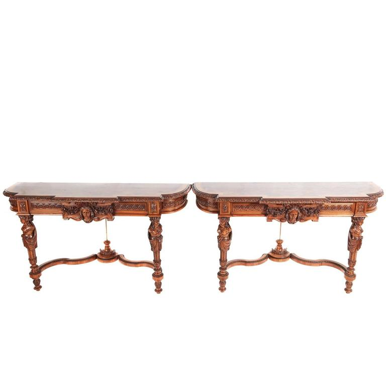 Fine and Rare Pair of French Carved Walnut Console Tables For Sale