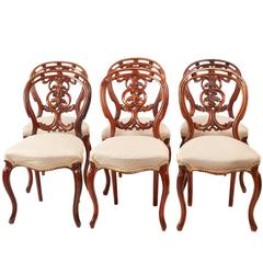 Quality Set of Six Victorian Carved Walnut Dining Chairs