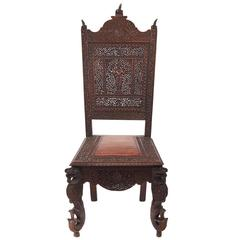 Unusual Profusely Pierced Carved Indian Rosewood Side Chair