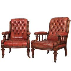 Superb Pair of Walnut and Leather Library Chairs