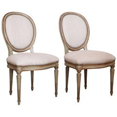 Set of Four of Grey Painted Oval Back Armless, 19th Century Italian Chairs