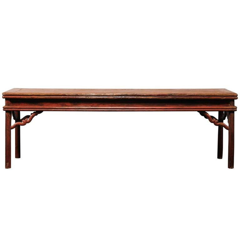 Chinese Very Long Sensational Old Lacquer Red Console Table, circa 1920