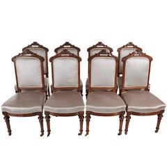 Fine Set of Eight Victorian Carved Walnut Dining Chairs