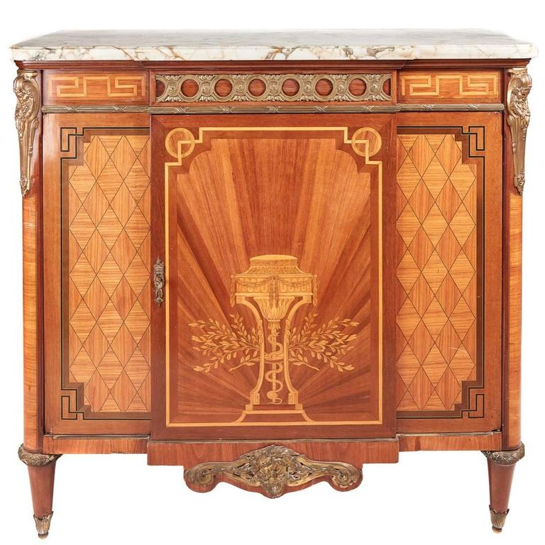 Great Quality French Marquetry And Parquetry Side Cabinet For Sale