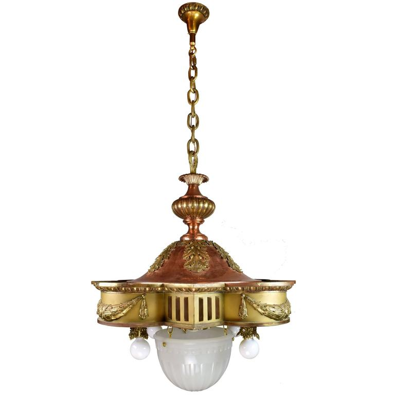 Brass and Copper Theater Light with Glass Bowl
