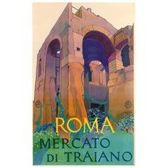 Original ENIT Travel Poster - Roma Mercato di Traiano Trajan's Market Rome Italy