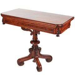 Unusual Victorian Walnut Card Table