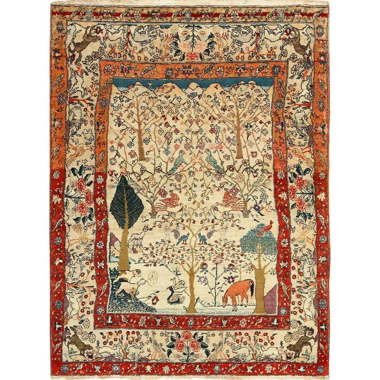 Antique Animal Motif Tehran Persian Rug For Sale At 1stdibs