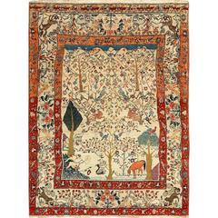 Antique Animal Motif Tehran Persian Rug