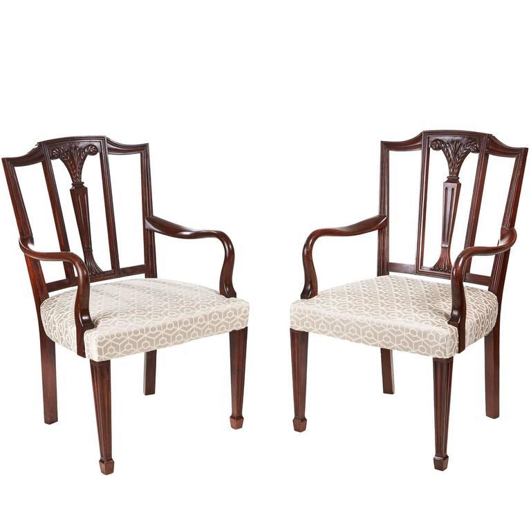 Oversized Pair of Mahogany Hepplewhite Style Desk Chairs