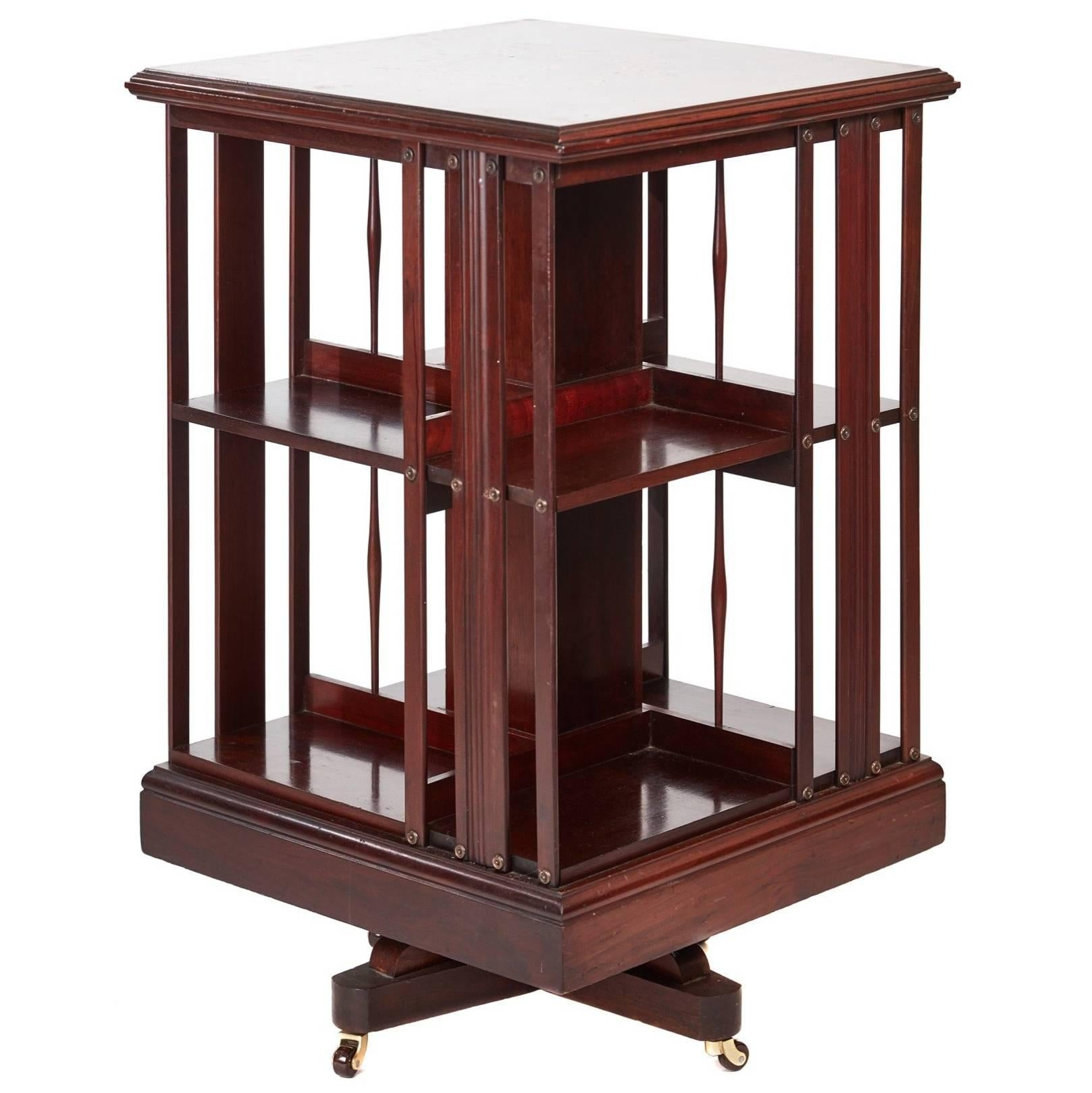 Vintage Cylindrical Shape Wooden Revolving Bookcase Table Stand Inlaid Rosette