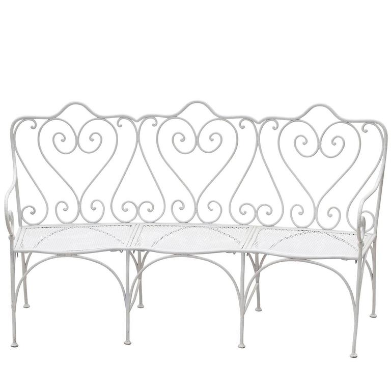 French Late 19th Century Wrought Iron Garden Bench