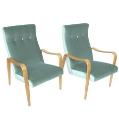 Pair of Thonet Midcentury Bentwood Mohair Lounge Chairs