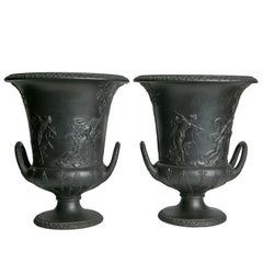 Pair of Wedgwood Black Basalt Urns Neoclassical Decoration