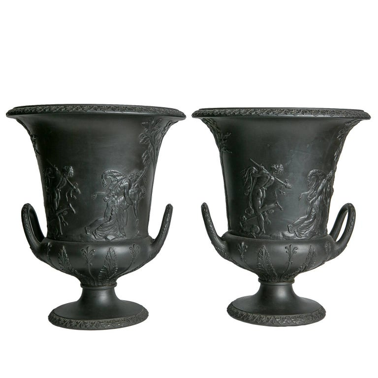 Wedgwood urns, ca. 1840, offered by Bardith