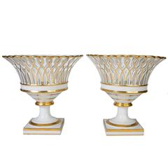 Pair of Antique French Porcelain Gilded Baskets 'Corbeilles'