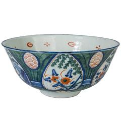 Antique Dutch Delft Punch Bowl with a Rare Green Ground