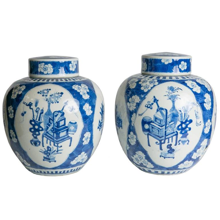 Blue And White Ginger Jars Pair Of Antique Chinese For Sale At 1stdibs
