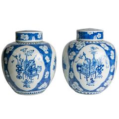 Blue and White Ginger Jars Pair of Antique Chinese