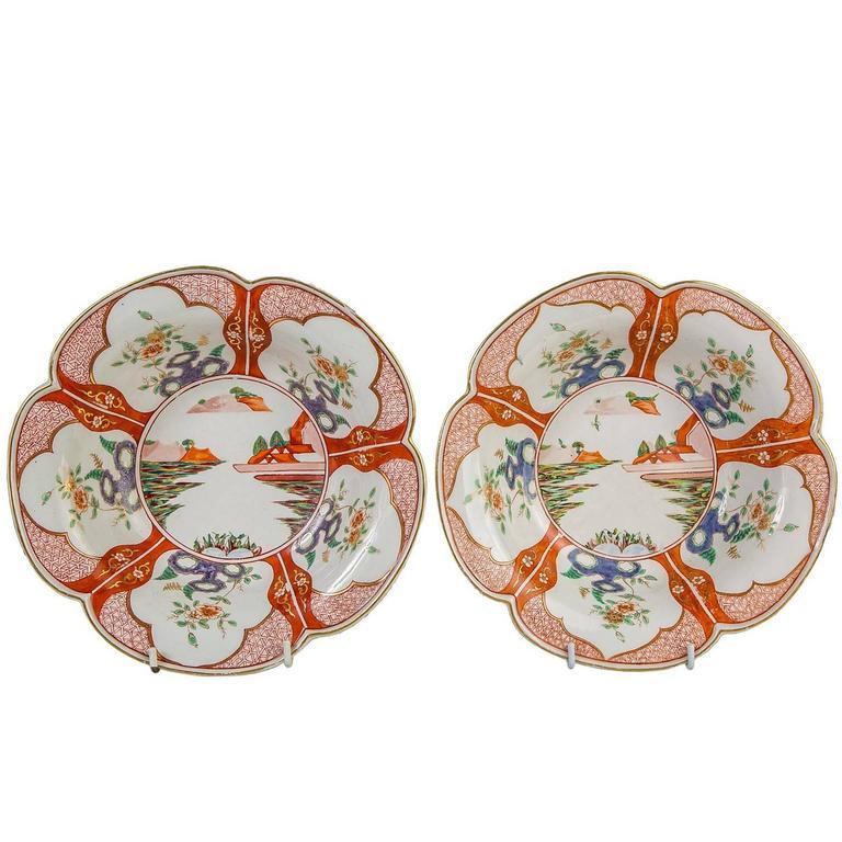 Paar Porzellanschalen mit Chinoiserie-Dekoration aus dem 18. Jahrhundert 1