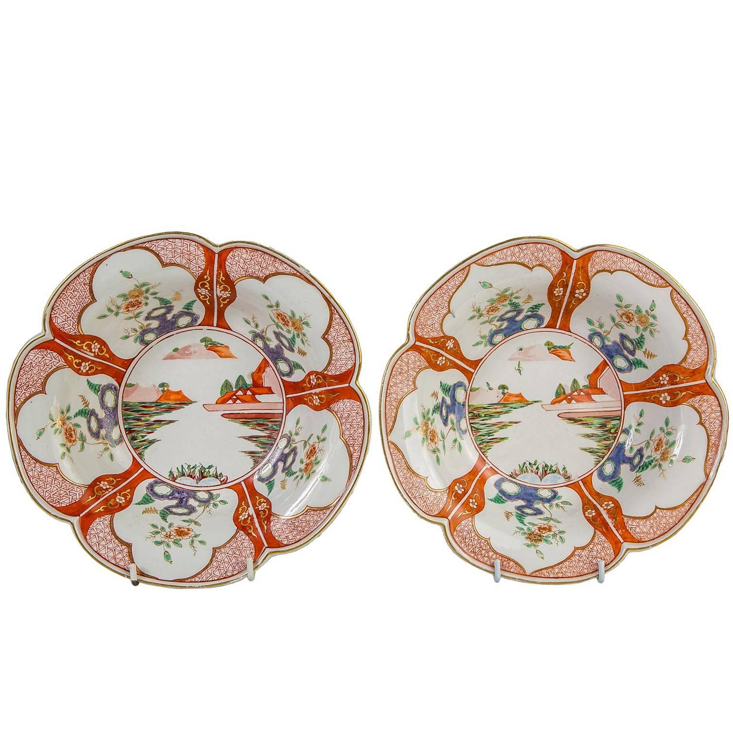 Pair 18th Century Porcelain Bowls With Chinoiserie Decoration England circa 1765