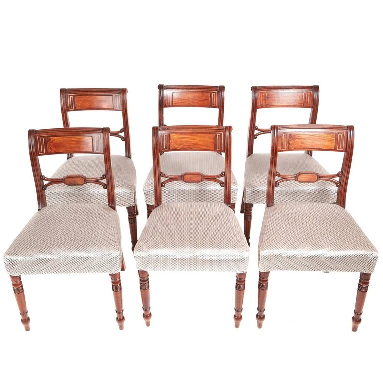 Set of Six Regency Mahogany Brass Inlaid Dining Chairs For Sale