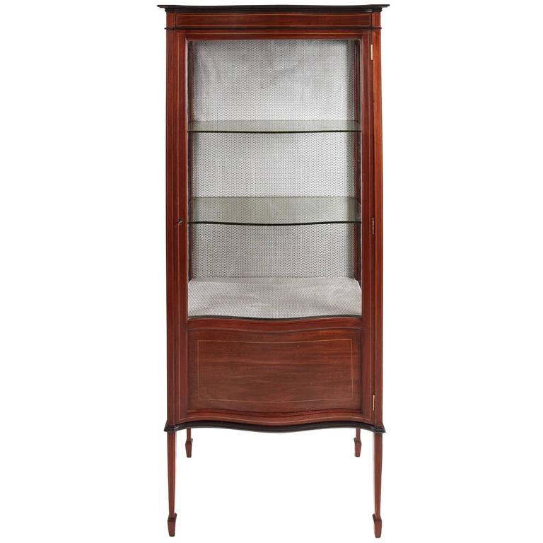 Edwardian Inlaid Mahogany Serpentine Front Display Cabinet For Sale