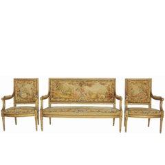 19th Century Giltwood Louis XVI Style Parlour Set