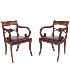 Fine Pair of Regency Brass Inlaid Elbow Chairs