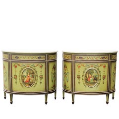 Pair of Adams Style Paint Decorated Commodes