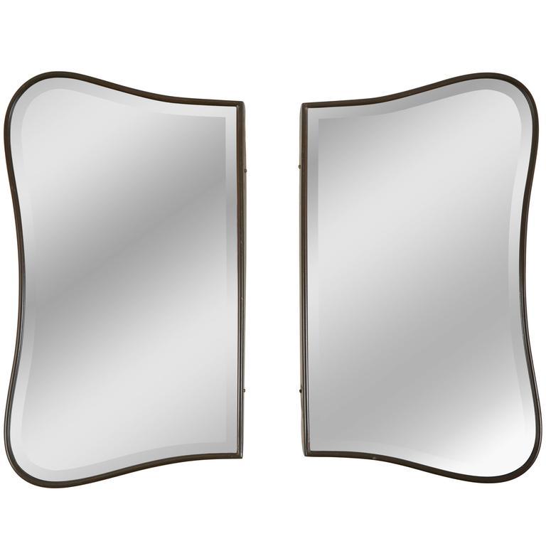 Pair of Biomorphic Brass Italian Mirrors