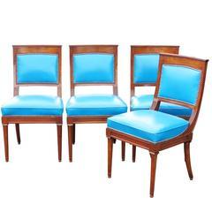 Vier Stühle mit blauem Leder im Directoire-Stil