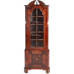 Queen Anne Style Burr Walnut and Oyster Wood Corner Cabinet