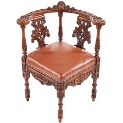 Fine Carved Walnut Corner Chair