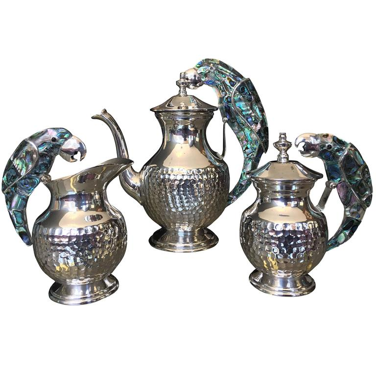 Tea Service Set in Silver and Abalone by Los Castillo For Sale