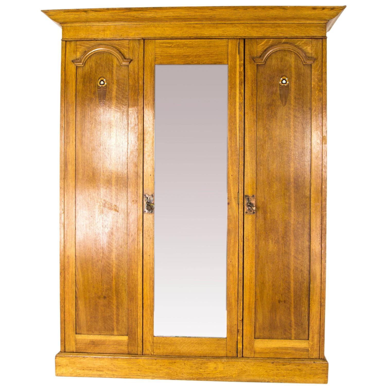 Antique Armoire Triple Mirror Oak Arts U0026amp; Crafts Wardrobe, Scotland, ...