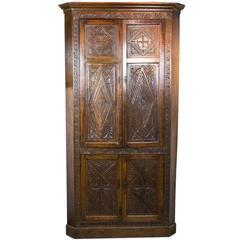 Antique Corner Cabinet Victorian Oak Four-Door Cabinet, Scotland, 1870