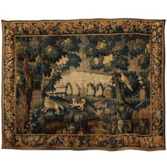 18th Century French Aubusson Tapestry with Dog Hunt