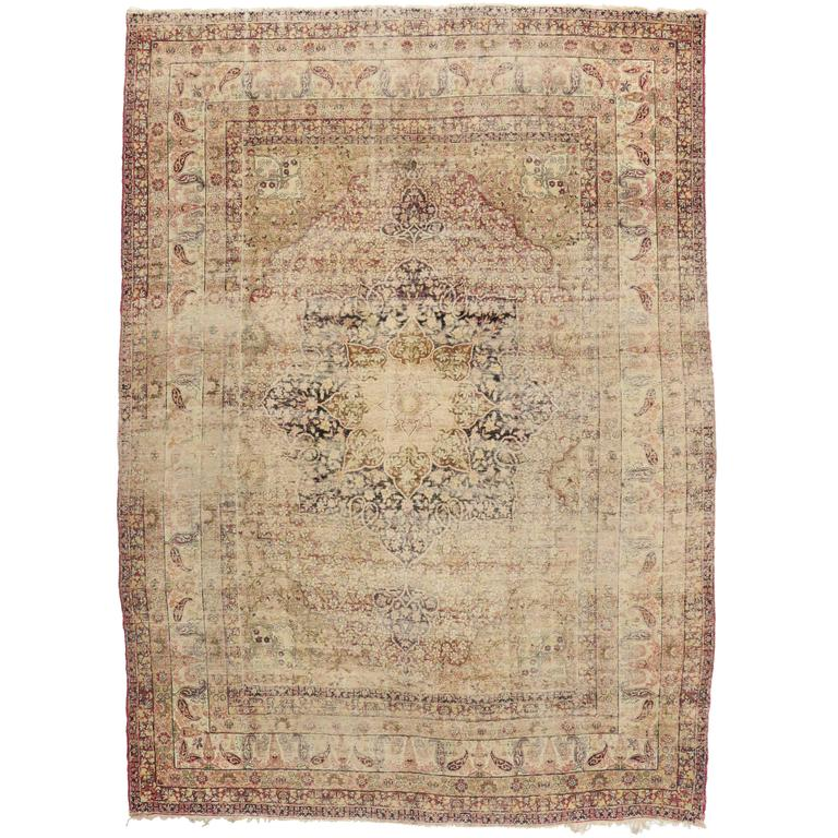 Distressed Antique Kermanshah Rug with Modern Industrial Style