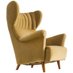 Danish Wingback Chair in Velvet and Teak, 1940s